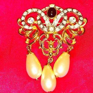 Vintage Brooch, Rhinestones, Pearls & Ornate Gold